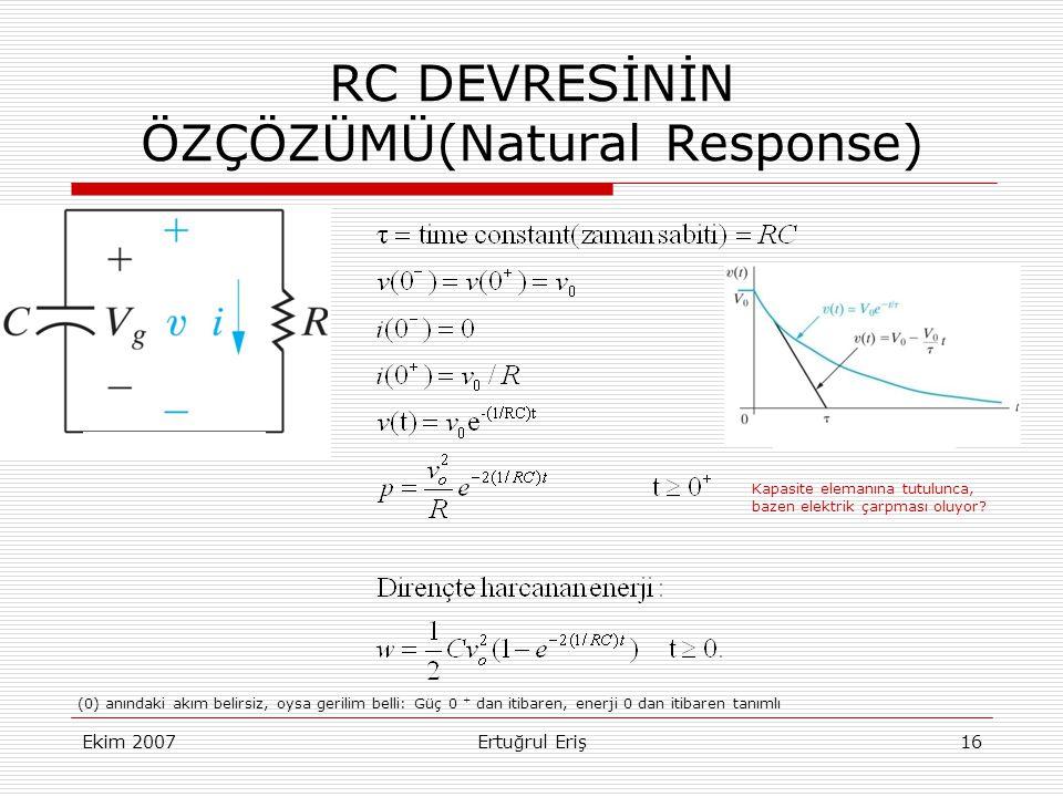 RC DEVRESİNİN ÖZÇÖZÜMÜ(Natural Response)