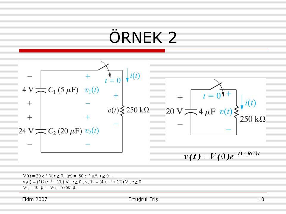 ÖRNEK 2 V(t) = 20 e -t V, t ≥ 0, i(t) = 80 e –t μA t ≥ 0+ ;