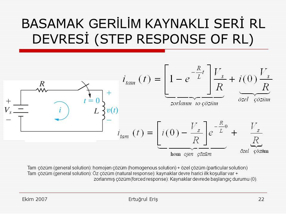 BASAMAK GERİLİM KAYNAKLI SERİ RL DEVRESİ (STEP RESPONSE OF RL)