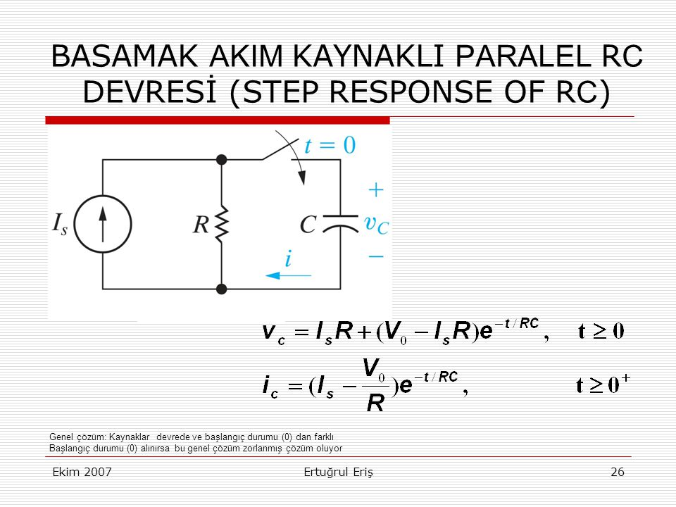 BASAMAK AKIM KAYNAKLI PARALEL RC DEVRESİ (STEP RESPONSE OF RC)
