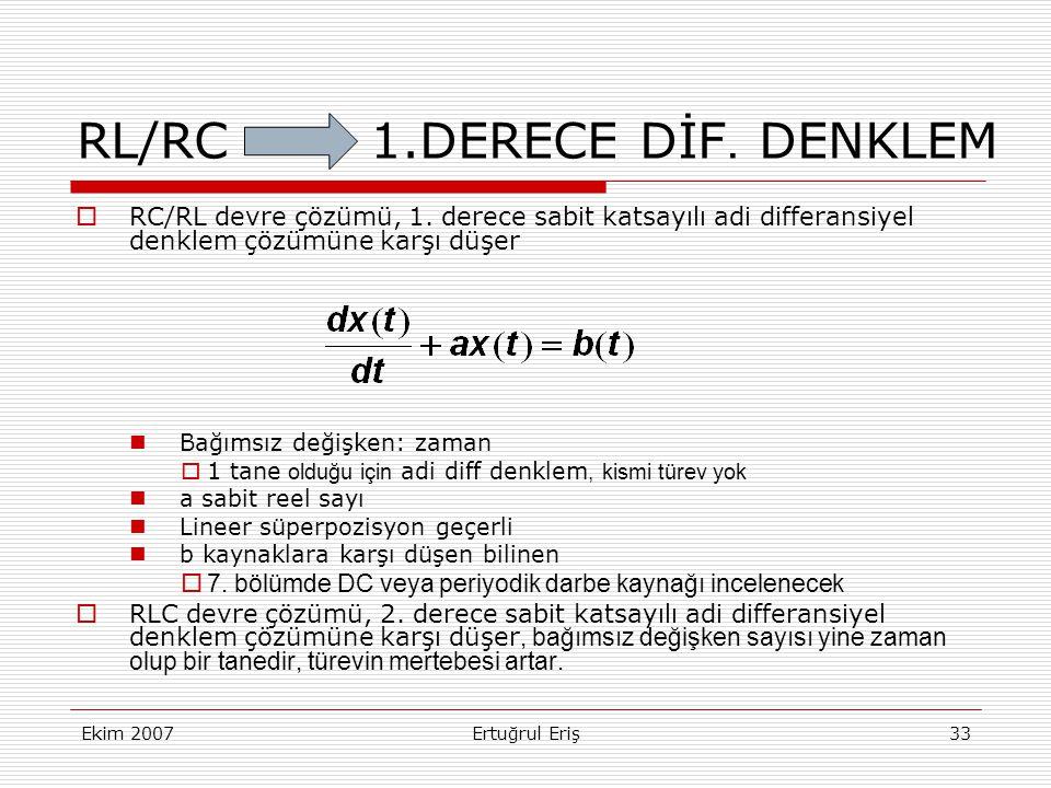 RL/RC 1.DERECE DİF. DENKLEM