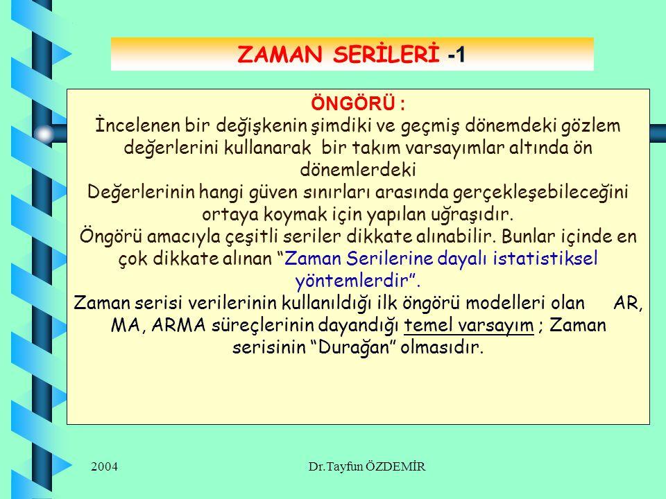 ZAMAN SERİLERİ -1 ÖNGÖRÜ :