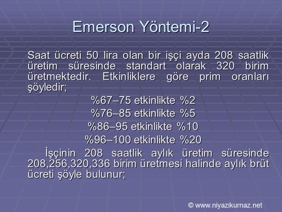 Emerson Yöntemi-2 %67–75 etkinlikte %2 %76–85 etkinlikte %5