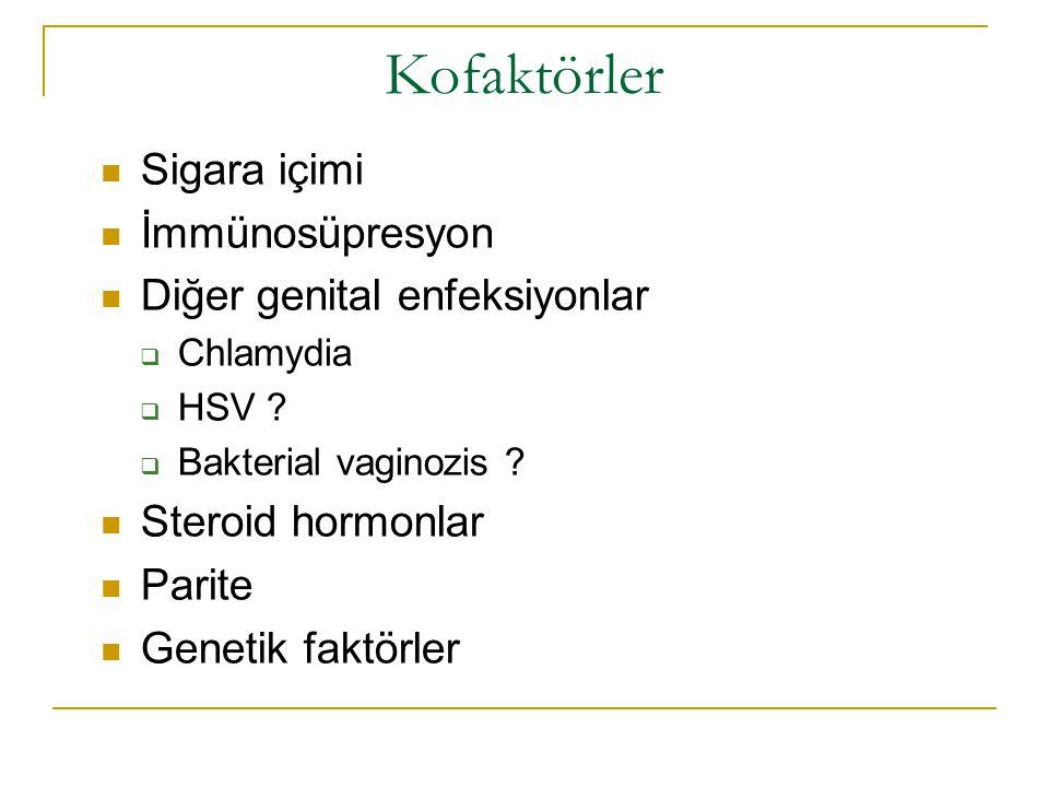 Kofaktörler Sigara içimi İmmünosüpresyon Diğer genital enfeksiyonlar
