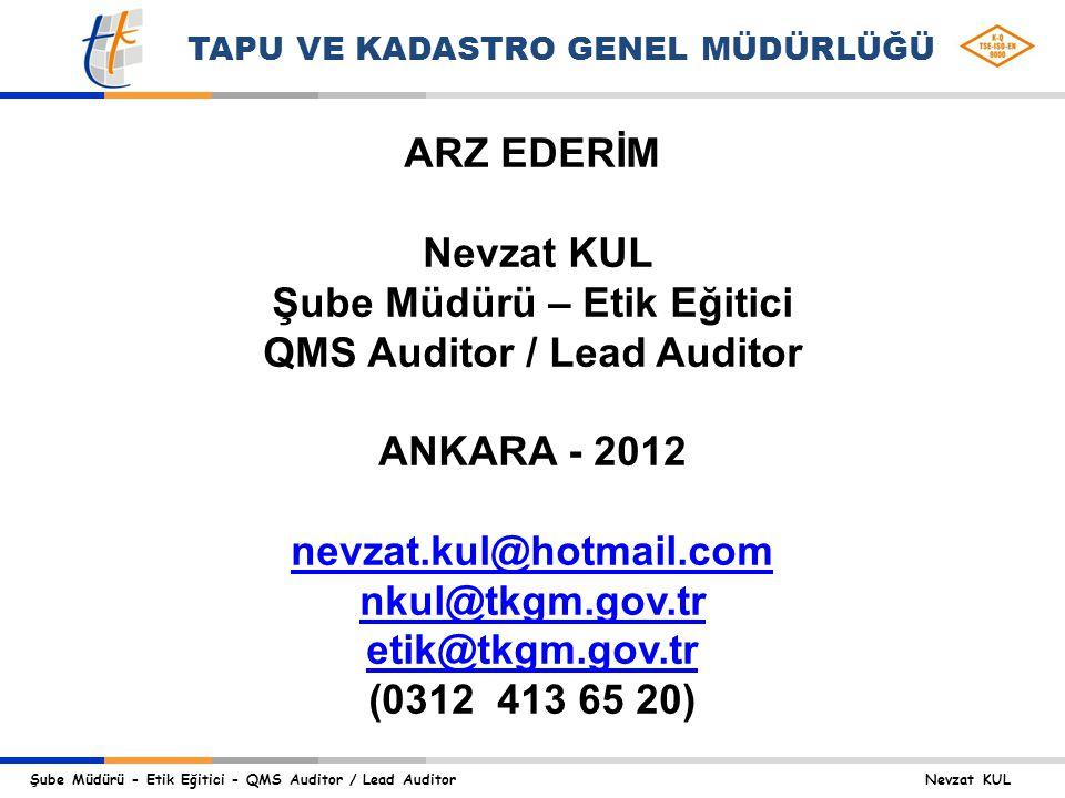 Şube Müdürü – Etik Eğitici QMS Auditor / Lead Auditor