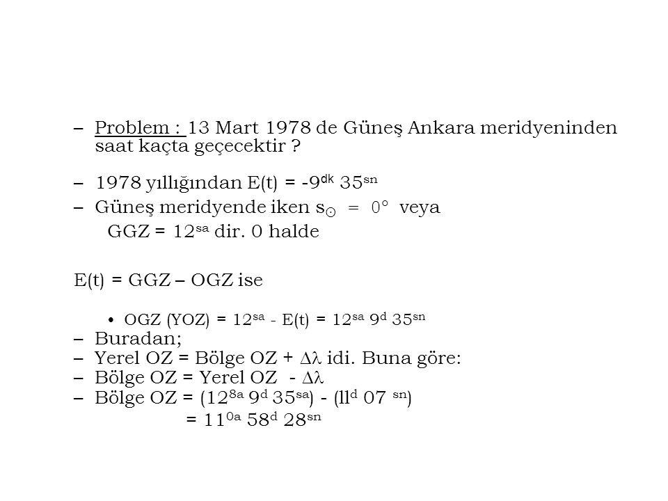 1978 yıllığından E(t) = -9dk 35sn Güneş meridyende iken s = 0 veya