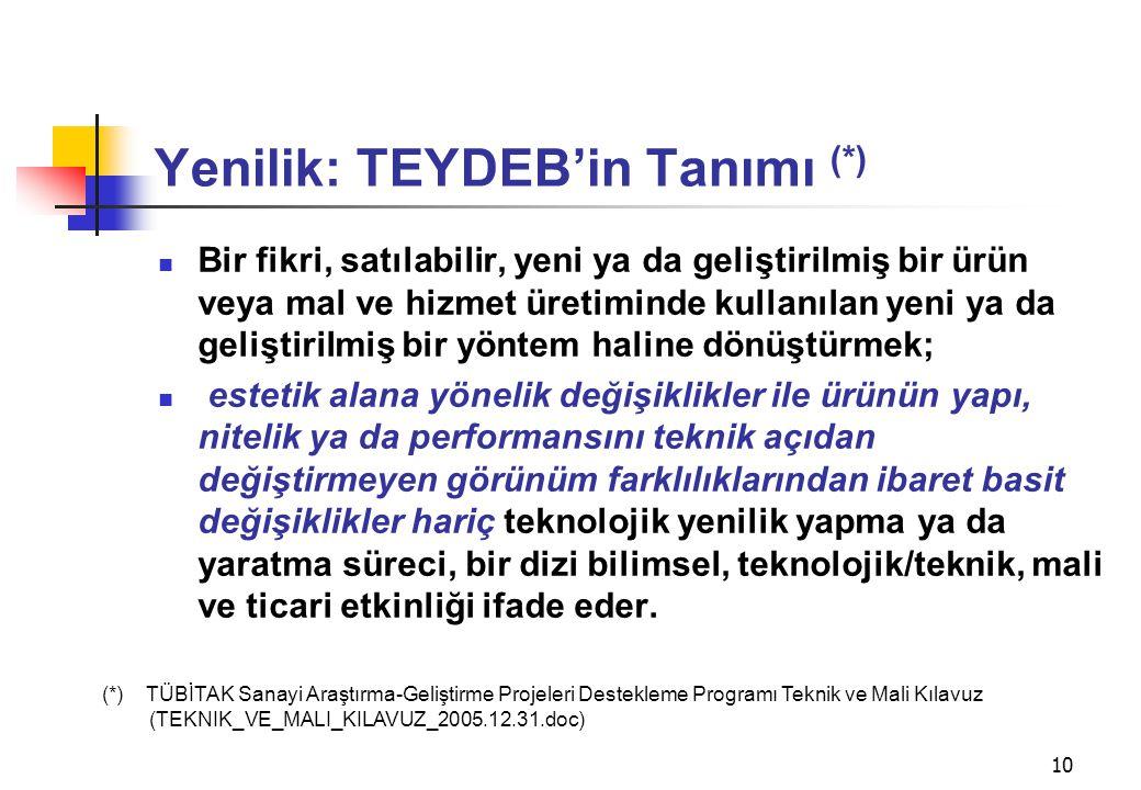 Yenilik: TEYDEB'in Tanımı (*)