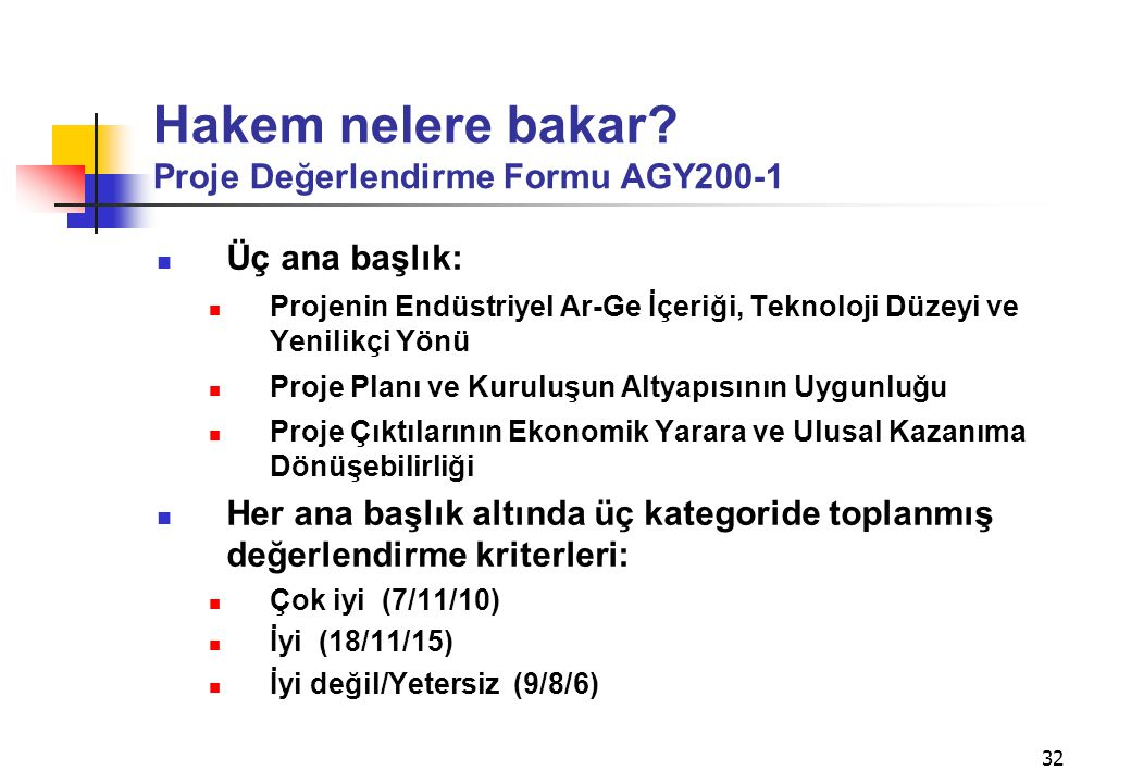Hakem nelere bakar Proje Değerlendirme Formu AGY200-1