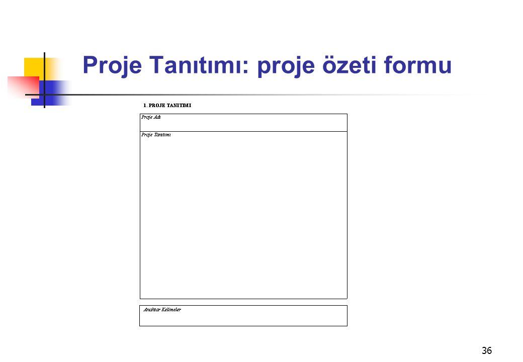 Proje Tanıtımı: proje özeti formu