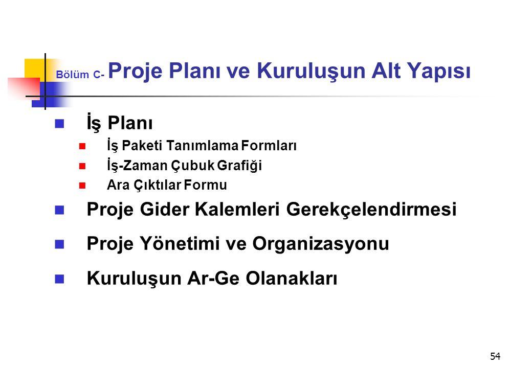 Bölüm C- Proje Planı ve Kuruluşun Alt Yapısı