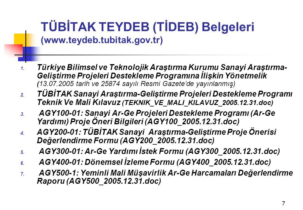 TÜBİTAK TEYDEB (TİDEB) Belgeleri (www.teydeb.tubitak.gov.tr)