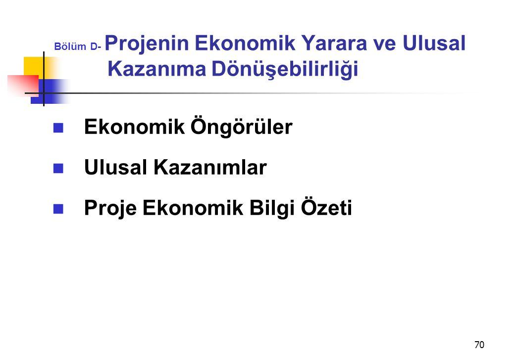 Bölüm D- Projenin Ekonomik Yarara ve Ulusal Kazanıma Dönüşebilirliği