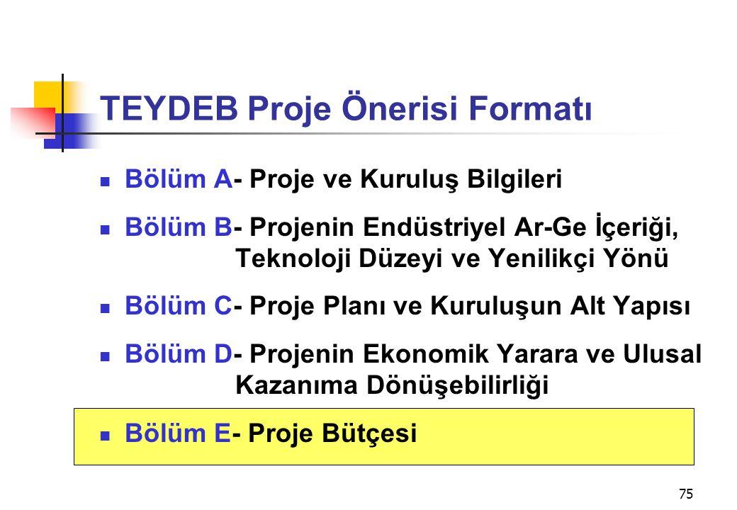 TEYDEB Proje Önerisi Formatı