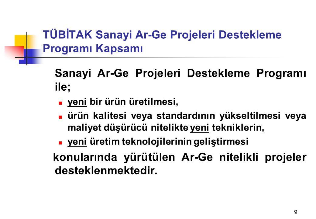 TÜBİTAK Sanayi Ar-Ge Projeleri Destekleme Programı Kapsamı