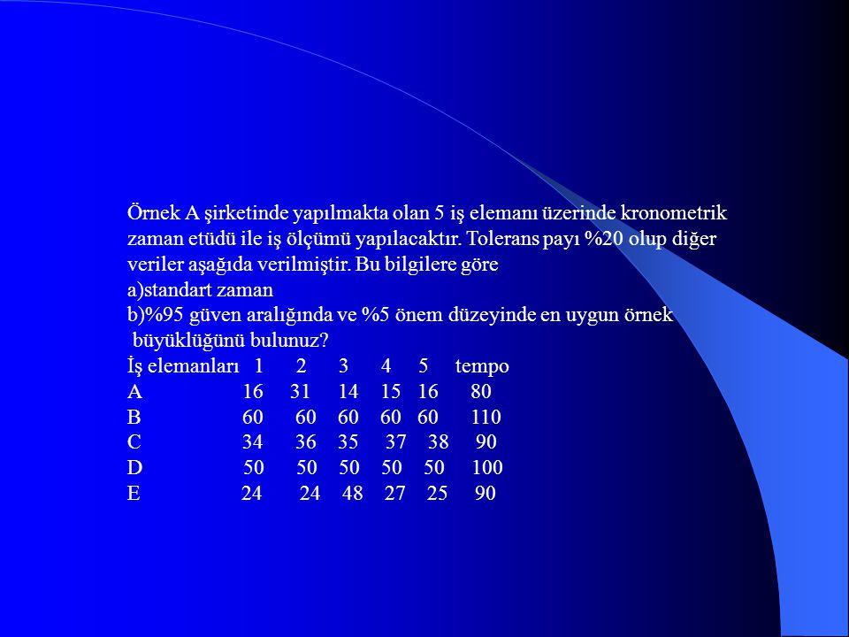 Örnek A şirketinde yapılmakta olan 5 iş elemanı üzerinde kronometrik