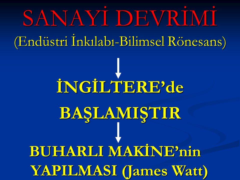 SANAYİ DEVRİMİ (Endüstri İnkılabı-Bilimsel Rönesans)