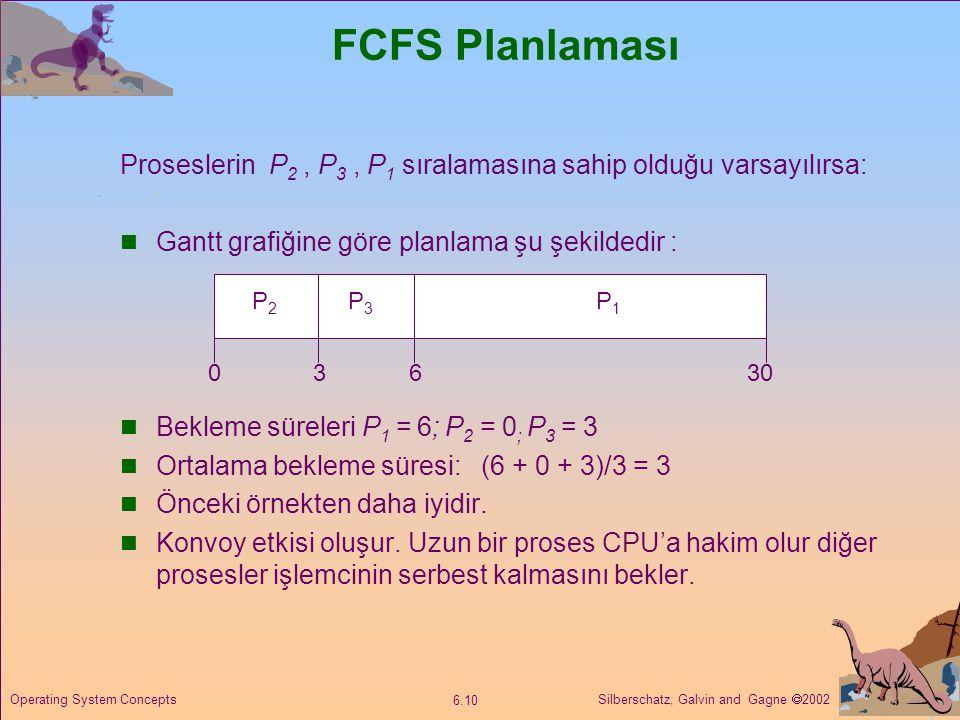 FCFS Planlaması Proseslerin P2 , P3 , P1 sıralamasına sahip olduğu varsayılırsa: Gantt grafiğine göre planlama şu şekildedir :