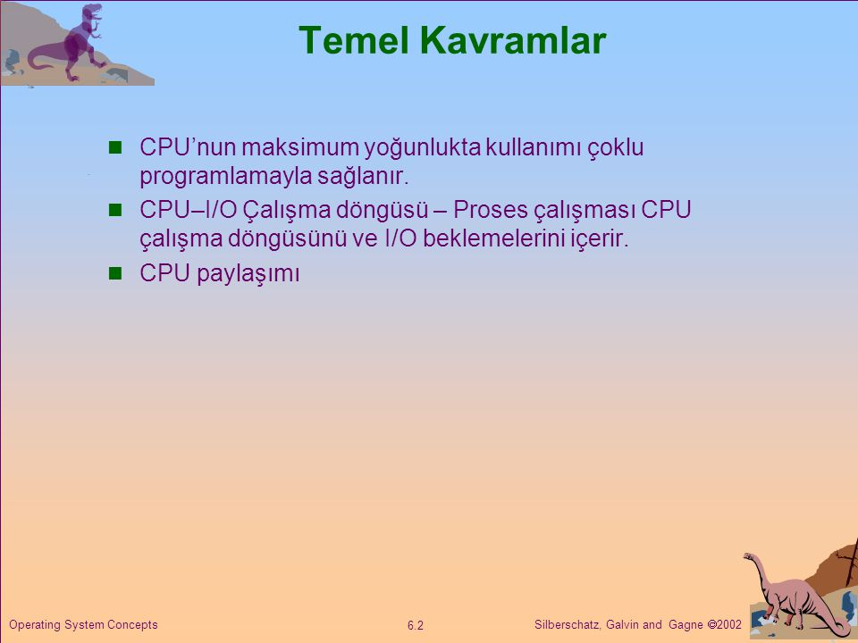 Temel Kavramlar CPU'nun maksimum yoğunlukta kullanımı çoklu programlamayla sağlanır.