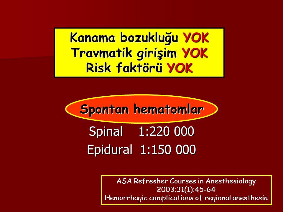 Kanama bozukluğu YOK Travmatik girişim YOK Risk faktörü YOK