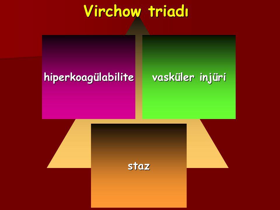 Virchow triadı hiperkoagülabilite vasküler injüri staz