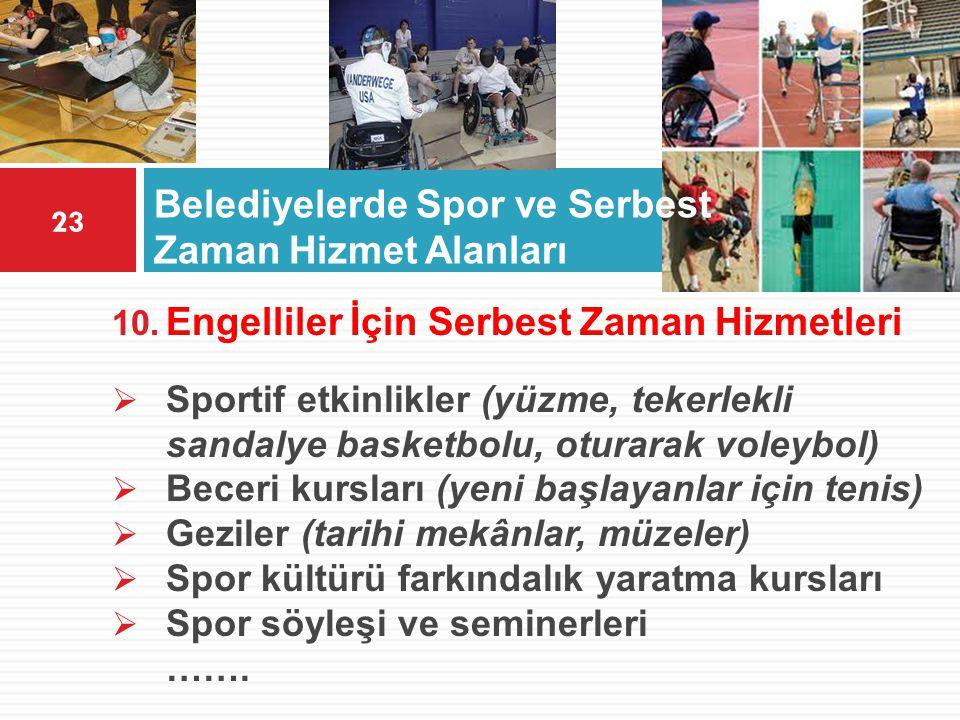 Belediyelerde Spor ve Serbest Zaman Hizmet Alanları