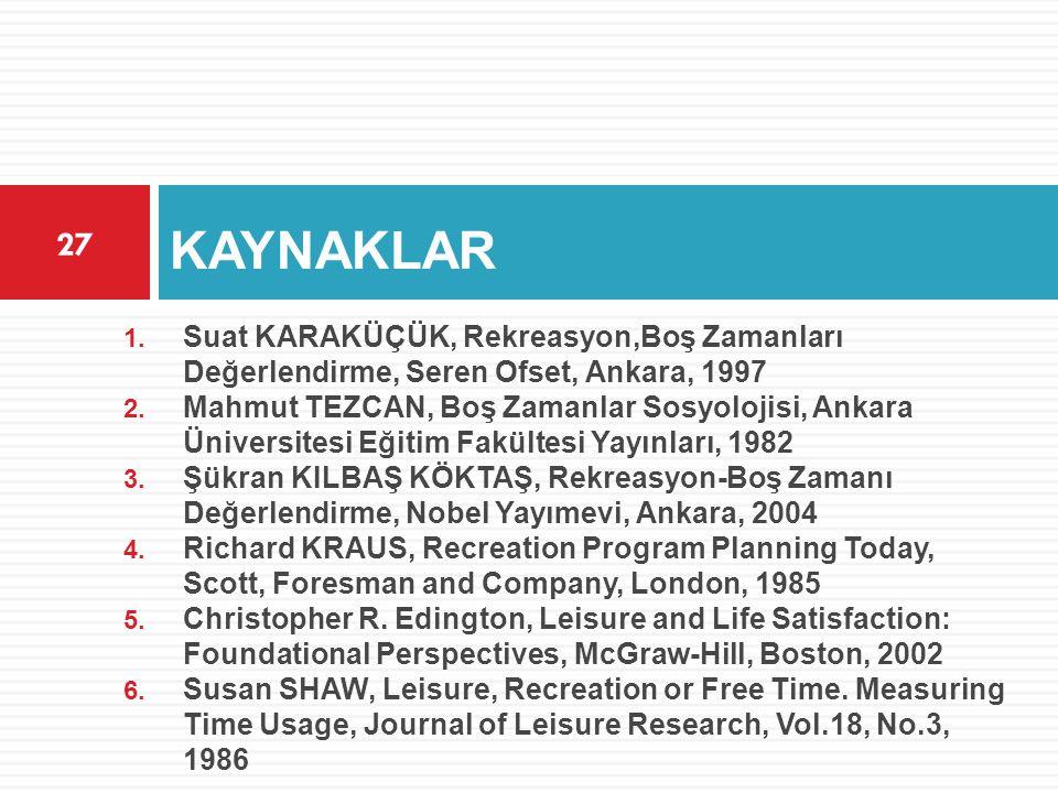 KAYNAKLAR Suat KARAKÜÇÜK, Rekreasyon,Boş Zamanları Değerlendirme, Seren Ofset, Ankara, 1997.