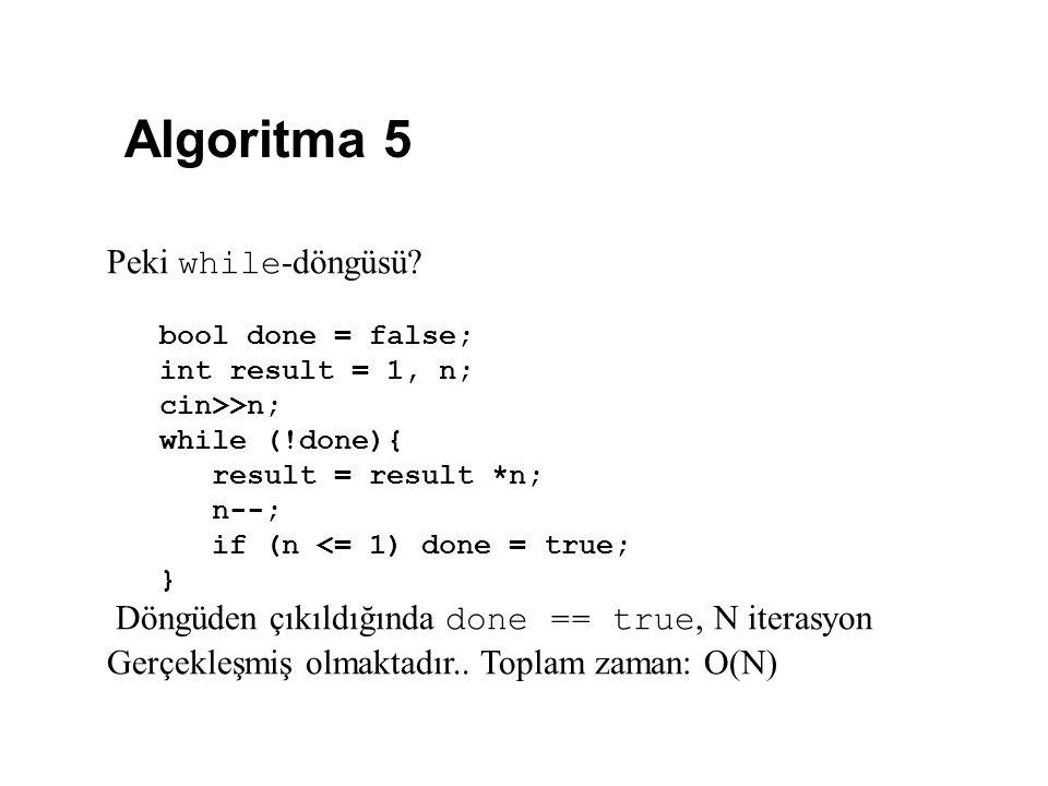 Algoritma 5 Peki while-döngüsü