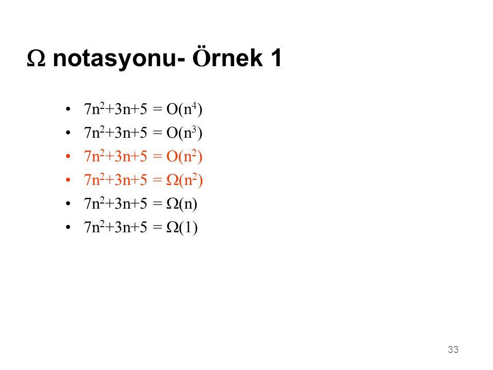  notasyonu- Örnek 1 7n2+3n+5 = O(n4) 7n2+3n+5 = O(n3)