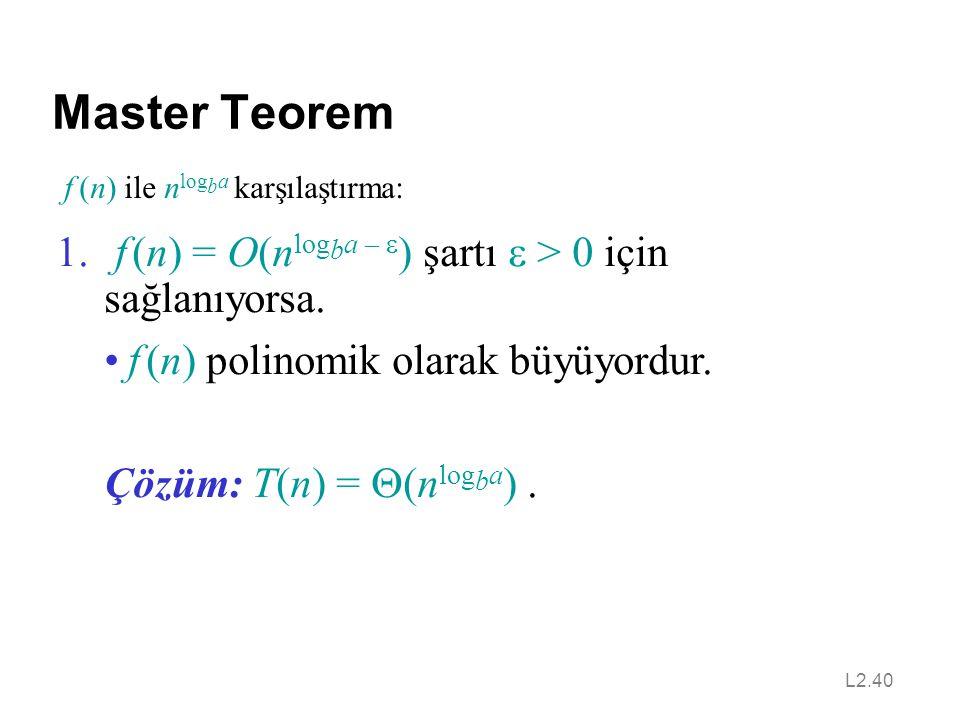 Master Teorem f (n) = O(nlogba – e) şartı e > 0 için sağlanıyorsa.