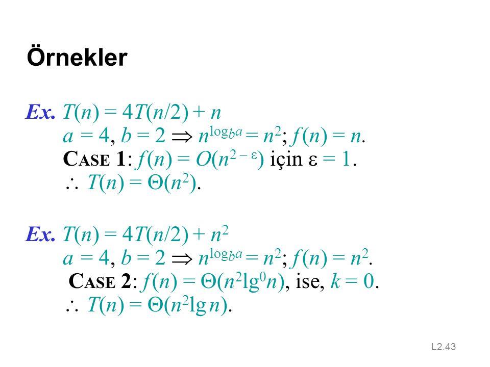Örnekler Ex. T(n) = 4T(n/2) + n a = 4, b = 2  nlogba = n2; f (n) = n.