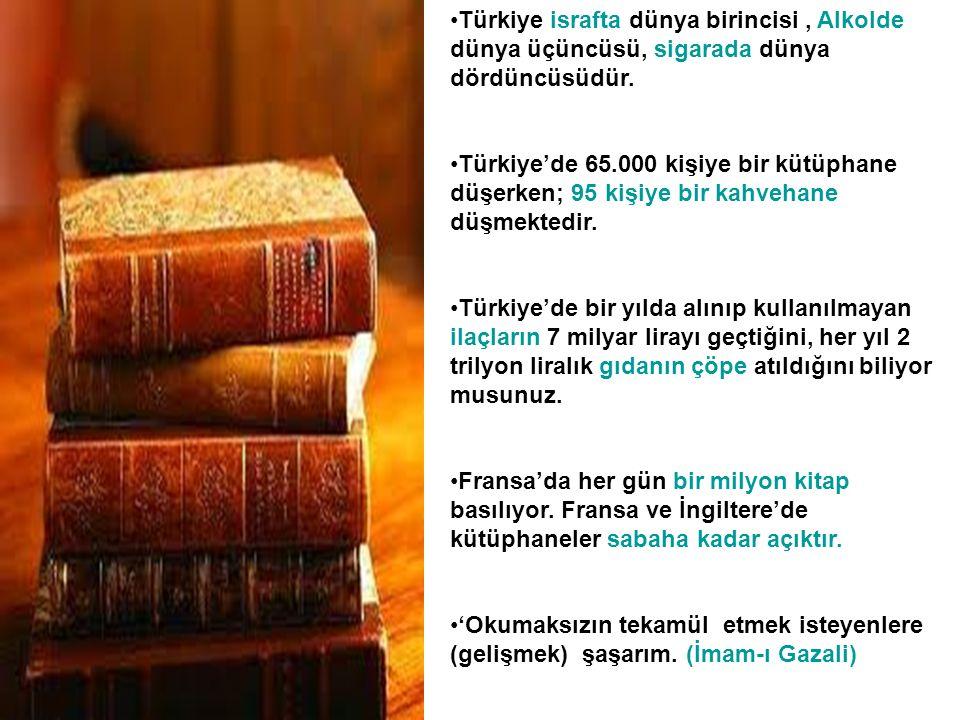 Türkiye israfta dünya birincisi , Alkolde dünya üçüncüsü, sigarada dünya dördüncüsüdür.