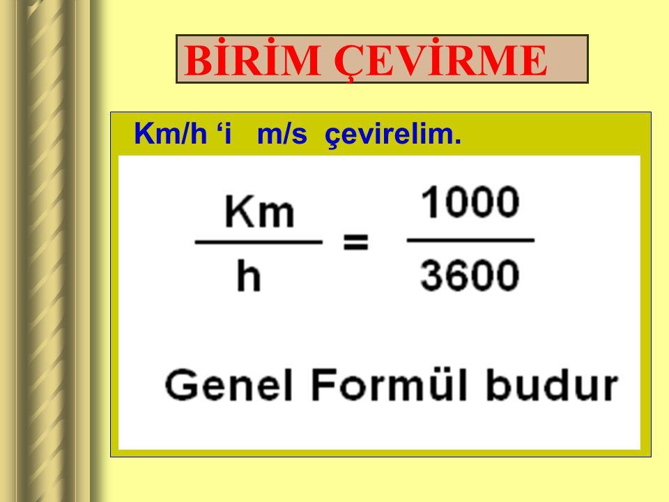 BİRİM ÇEVİRME Km/h 'i m/s çevirelim.