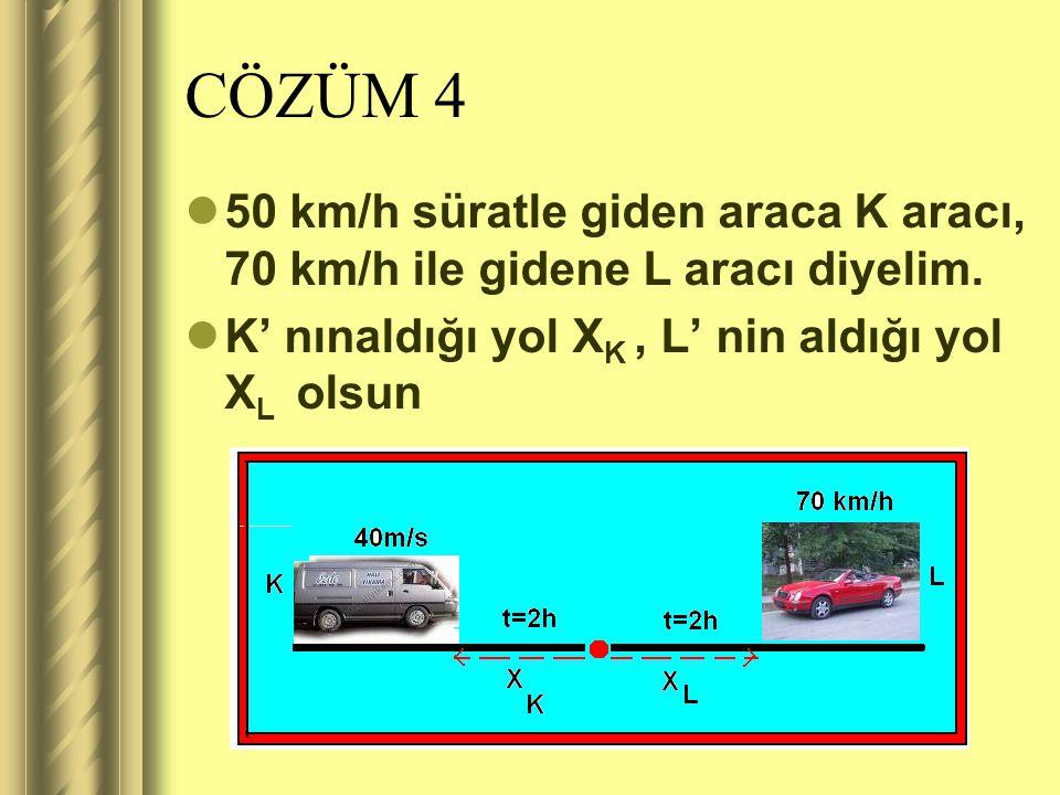 CÖZÜM 4 50 km/h süratle giden araca K aracı, 70 km/h ile gidene L aracı diyelim.
