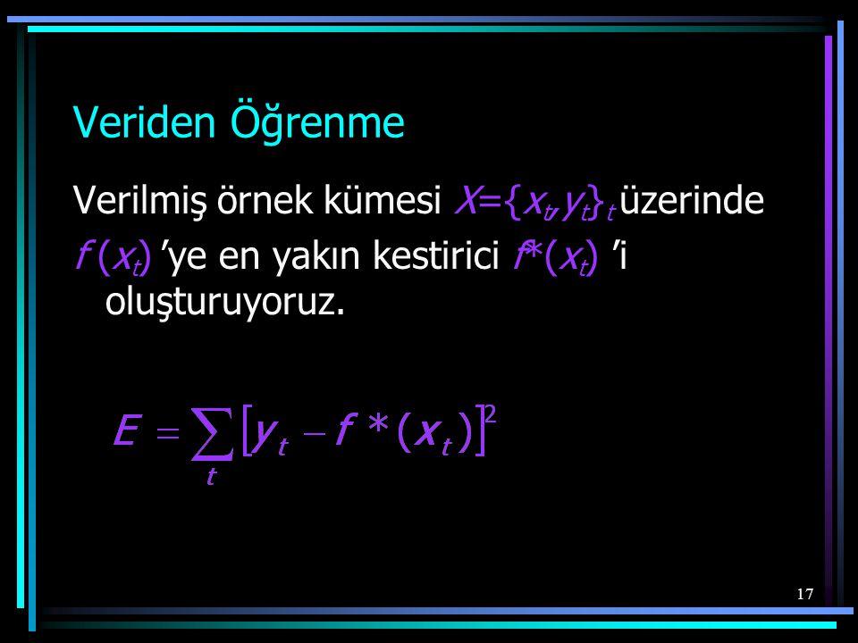 Veriden Öğrenme Verilmiş örnek kümesi X={xt,yt}t üzerinde