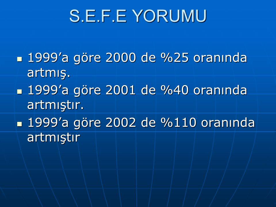 S.E.F.E YORUMU 1999'a göre 2000 de %25 oranında artmış.