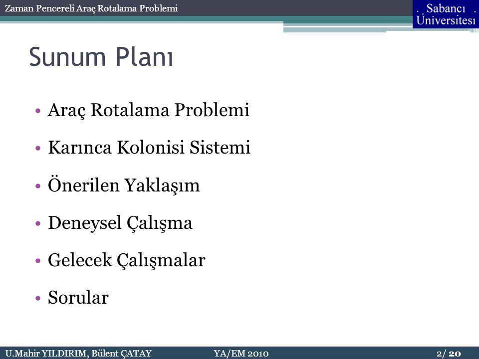 Sunum Planı Araç Rotalama Problemi Karınca Kolonisi Sistemi