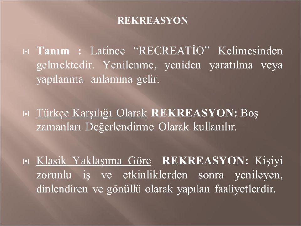 REKREASYON Tanım : Latince RECREATİO Kelimesinden gelmektedir. Yenilenme, yeniden yaratılma veya yapılanma anlamına gelir.