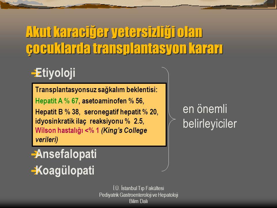Akut karaciğer yetersizliği olan çocuklarda transplantasyon kararı