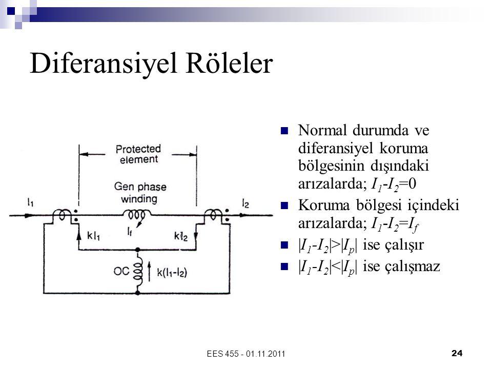 Diferansiyel Röleler Normal durumda ve diferansiyel koruma bölgesinin dışındaki arızalarda; I1-I2=0.