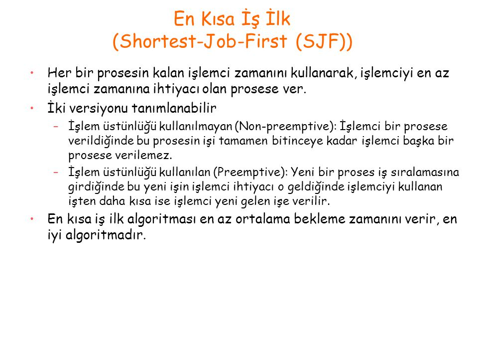 En Kısa İş İlk (Shortest-Job-First (SJF))