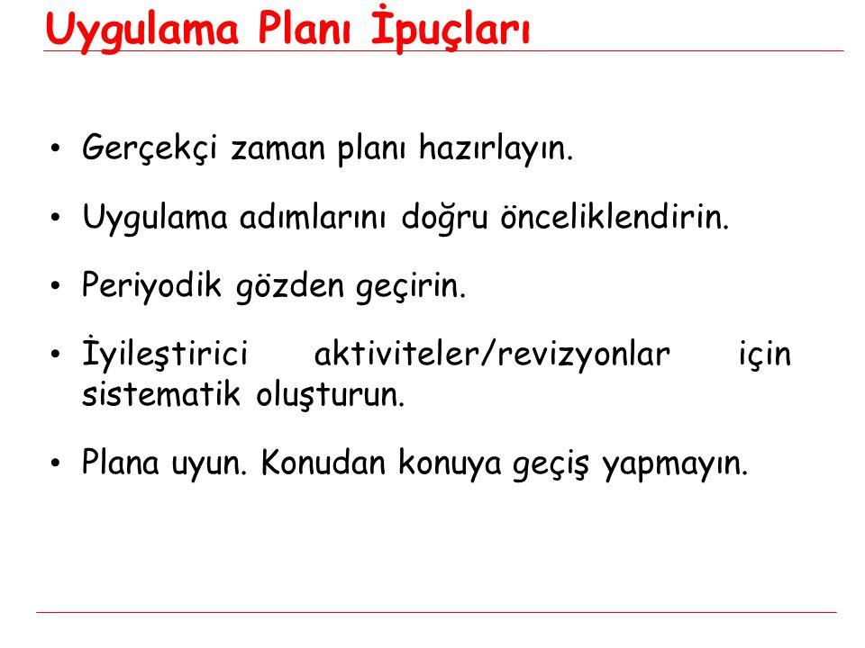 Uygulama Planı İpuçları