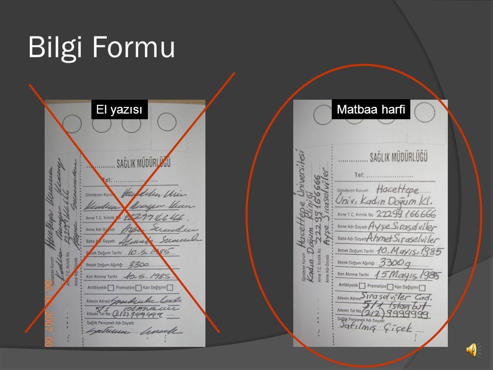 Bilgi Formu El yazısı Matbaa harfi