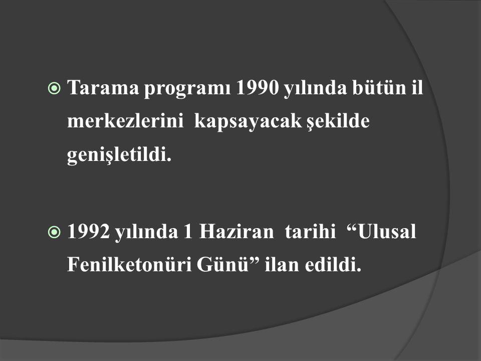 Tarama programı 1990 yılında bütün il merkezlerini kapsayacak şekilde genişletildi.
