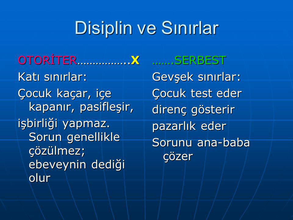 Disiplin ve Sınırlar OTORİTER……………..X Katı sınırlar: