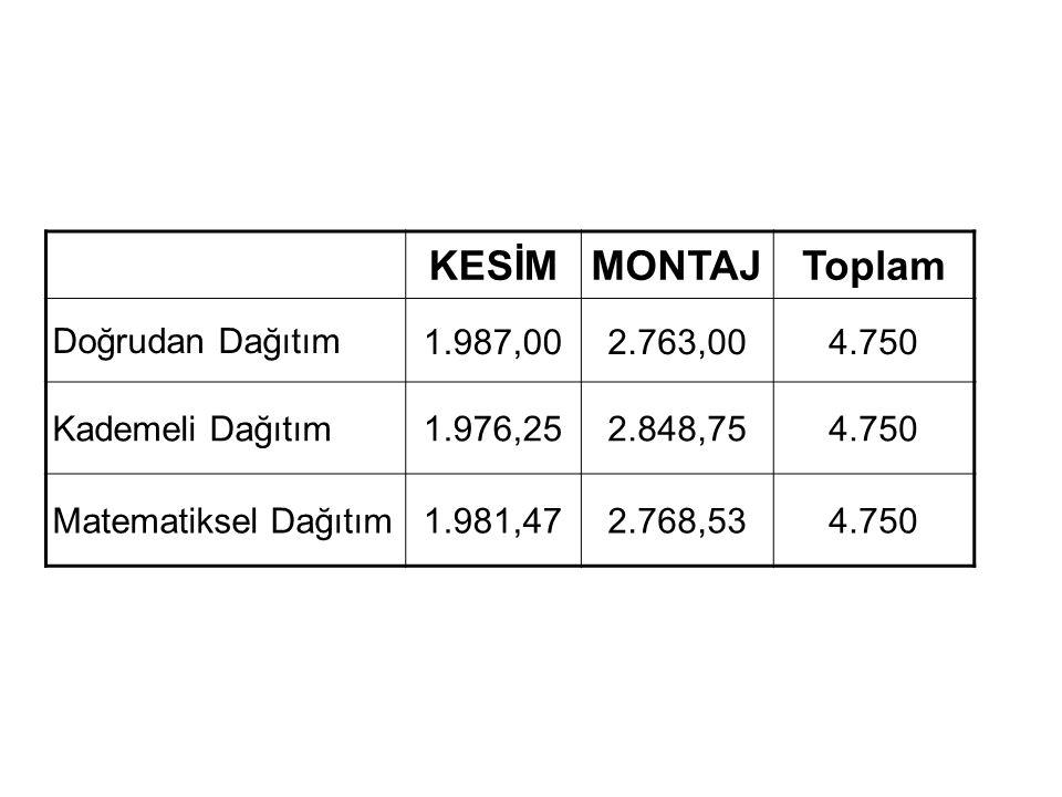 KESİM MONTAJ Toplam Doğrudan Dağıtım 1.987,00 2.763,00 4.750