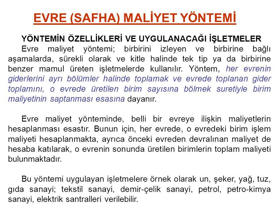EVRE (SAFHA) MALİYET YÖNTEMİ