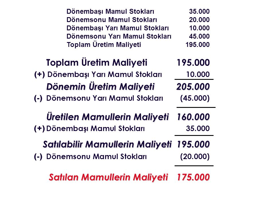 Toplam Üretim Maliyeti 195.000