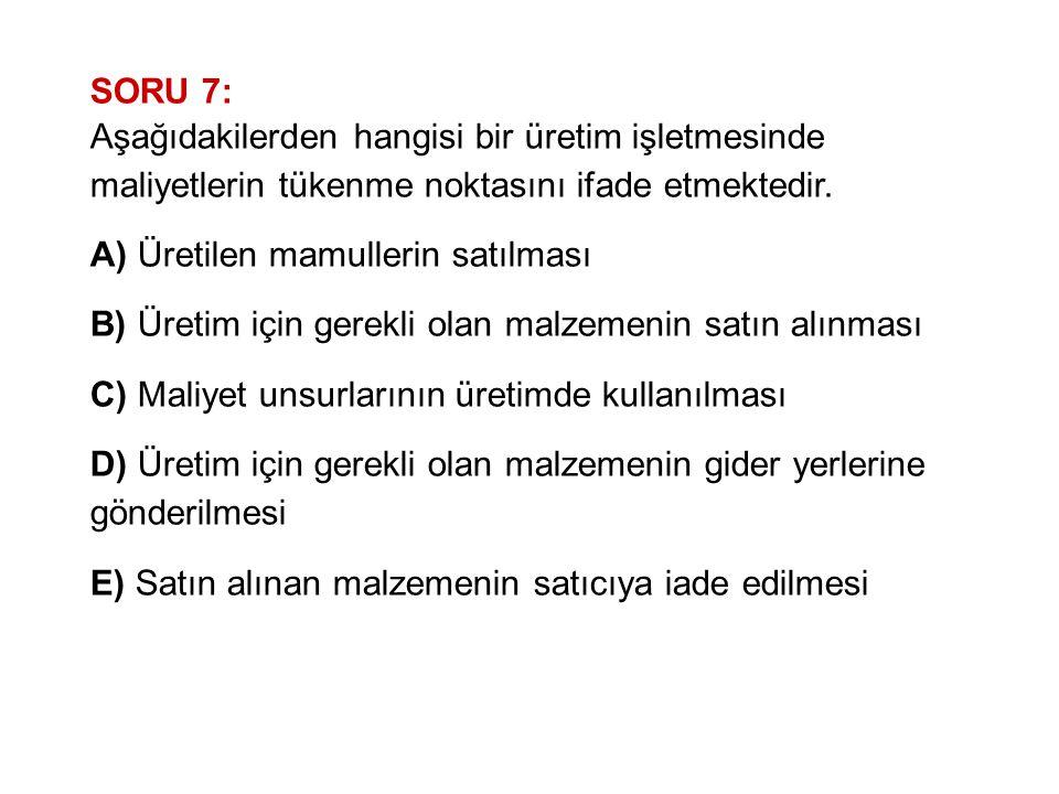 SORU 7: Aşağıdakilerden hangisi bir üretim işletmesinde maliyetlerin tükenme noktasını ifade etmektedir.