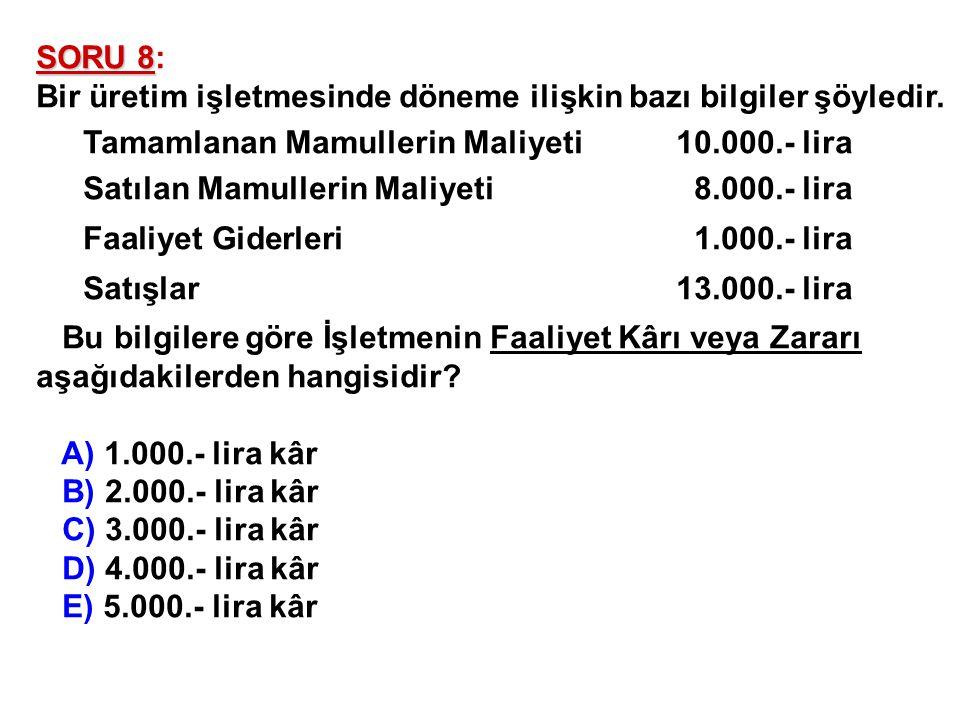 SORU 8: Bir üretim işletmesinde döneme ilişkin bazı bilgiler şöyledir. Tamamlanan Mamullerin Maliyeti 10.000.- lira.