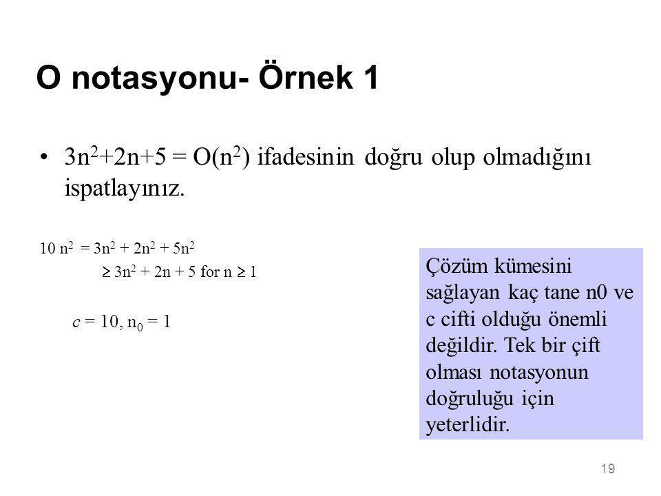 O notasyonu- Örnek 1 3n2+2n+5 = O(n2) ifadesinin doğru olup olmadığını ispatlayınız. 10 n2 = 3n2 + 2n2 + 5n2.